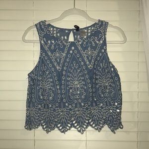 Tops - Blue cut out tank top